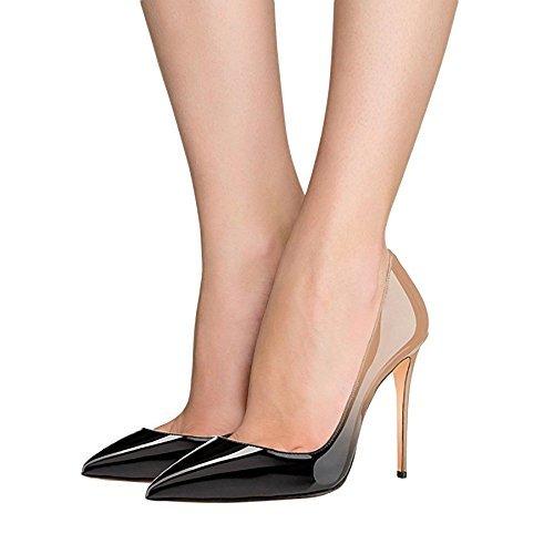 Mujer 10cm a black Sandalias Nude con EKS Cu qI7I6