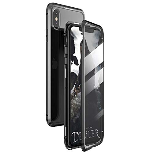 Magnetic Case for iPhone X XS MAX 7 8 Plus Coque Metal Phone Fundas Cover Double Sided Tempered Glass 360 Full Protective Carcasa (iPhone 7,Black)