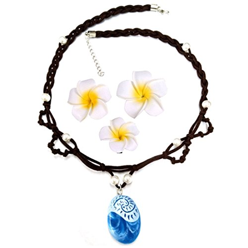Magical Seashell Necklace for Kids Girls Blue Pendant Handmade Weave Rope Chain with Hair Flower Clip (Weave Shell)