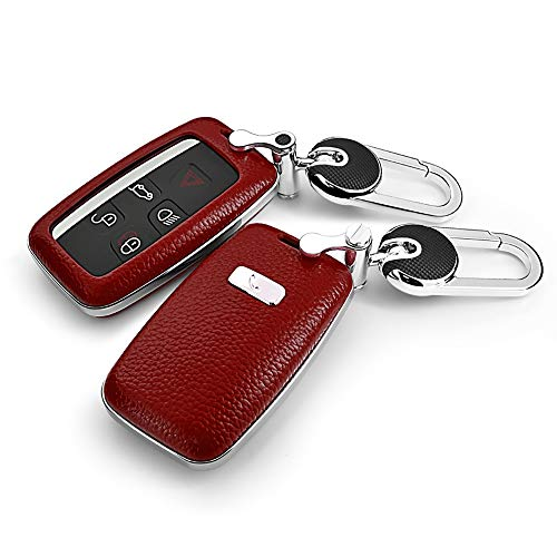 ontto for Land Rover Car Key Shell Genuine Leather ABS Plastic Smart Car Key Fob Holder Protector Cover with Zinc Alloy Keychain Key Ring Fits Range Rover Eoque Freelander 2 Discovery Jaguar Red