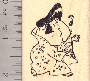 Guinea Pig in Elvis Impersonator Costume (Halloween) Rubber Stamp ()
