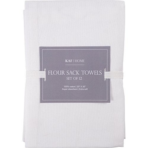 KAF Home Set of 12 White FLAT Flour Sack Embroidery/Craft Towels, 100-Percent Cotton, Absorbent, Extra Soft (20 x 30-Inches, FLAT) by KAF Home (Image #3)