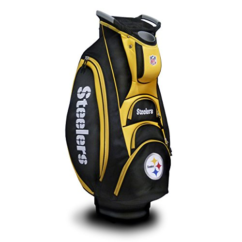Team Golf NFL Pittsburgh Steelers Victory Golf Cart Bag, 10-way Top with Integrated Dual Handle & External Putter Well, Cooler Pocket, Padded Strap, Umbrella Holder & Removable Rain Hood