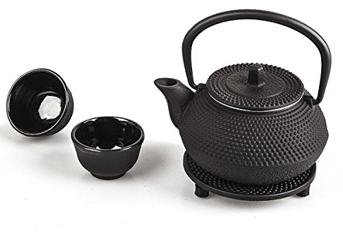4 piece Japanese Cast Iron Pot Tea Set Black w/ Trivet (10 oz)