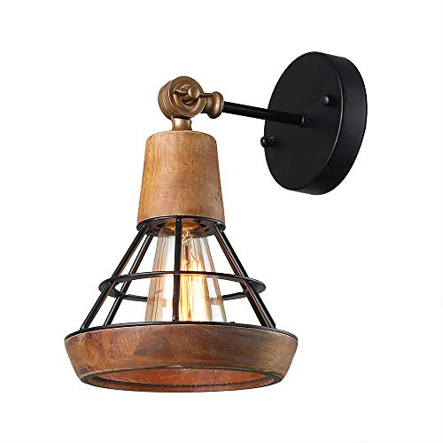 Giluta Conical Industrial Wood Wall Sconce with Cage Shade, Vintage Stylish Bathroom Lighting Log Cabin Home Retro Edison Sconce Lighting Fixtures 1-Light, Brown (W0050)