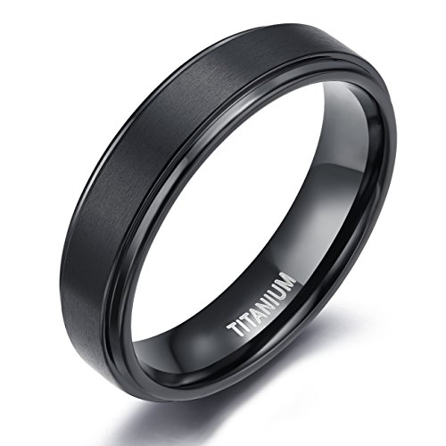 Center Titanium Wedding Band (TIGRADE Men's Black 6mm Titanium Wedding Rings Matte Finish Center Polish Edge Band(7.5))