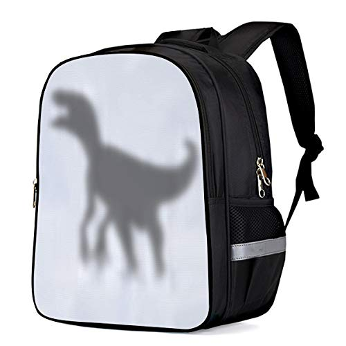 Small School Backpack for Kids/Kindergarten The Shadow of Dinosaur 3D Printed Stylish Laptop Book Bag Lightweight Lunch Bag Daypack for Boys and Girls Arts Language