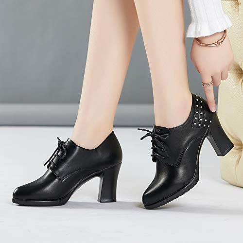 Female Autumn With Deep Thick High Shoes heels Mouth Pu Pointed Black Shoes Heels Yukun High Single Female Female Yt8wq