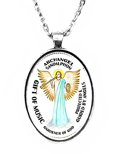 (Archangel Sandalphon Gift of Music Gardener of God Huge 30x40mm Handmade Silver Plated Art Pendant)