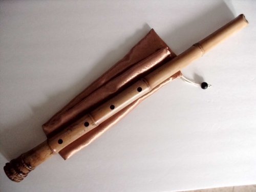 2009 Buffalo Horn - 2.2 Pentatonic Shakuhachi with Root End 5 Holes Kinko Wudaguji inlet with buffalo horn flake- Traditional Zen Instrument