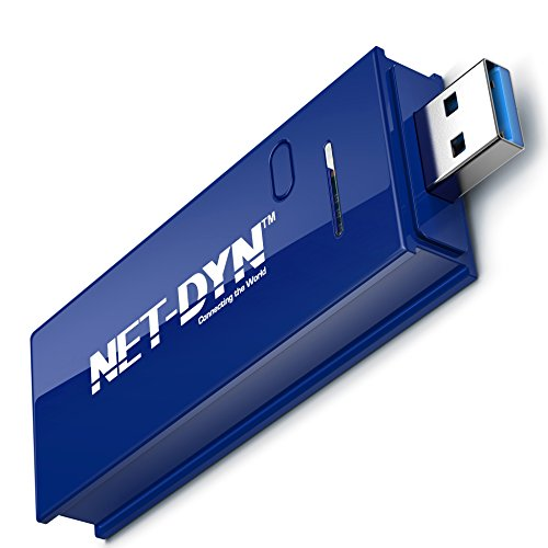 Top Dual Band USB Wireless WiFi Adapter, AC1200, 5GHz and 2.4GHZ (867Mbps/300Mbps), Super Strength So You Can Say Bye to Buffering, for PC or Mac, by NET-DYN