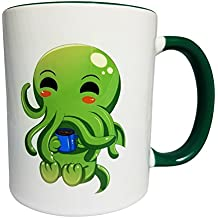 Cute Kawaii Cthulhu Drinking Coffee Ceramic Mug 11 oz with Green Accent Color