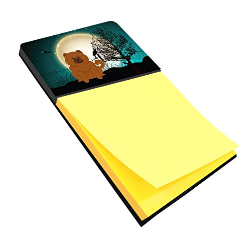 Chow Note - Caroline's Treasures Halloween Scary Chow Chow Red Sticky Note Holder, Multicolor (BB2332SN)