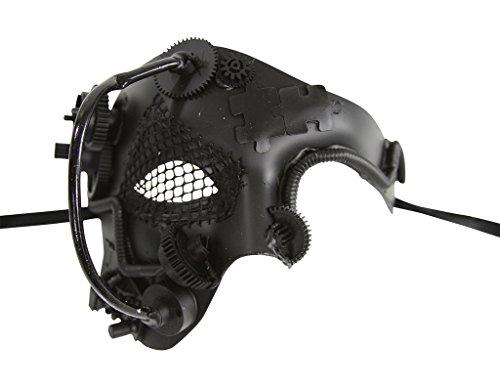 KAYSO INC Steampunk Phantom Of The Opera Mechanical Venetian Masquerade Mask, Black]()