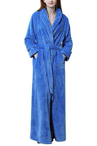 Vestaglia Vello Donna Damigella Per Da Pigiama Inverno D'onore Tasche Sleepwear Robe Asciugamano Cintura Blu Kimono Accappatoio Notte Yaomei Y5vwfqn