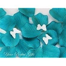 1000 pcs Luxury Teal Blue Silk Rose Petals with Butterflies Wedding Flower Favor Decoration Flower Girl Basket RP012