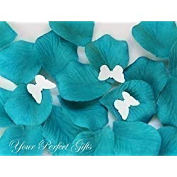 1000 pcs Luxury Teal Blue Silk Rose Petals with Butterflies Wedding Flower Favor Decoration Flower Girl Basket RP012