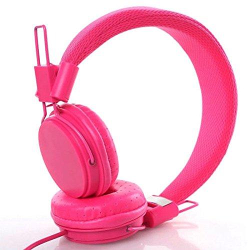 Ocamo Kids Wired Ear Headphones Stylish Headband Earphones for iPad Tablet Rose red