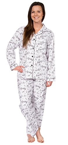 Leisureland Women's Cotton Flannel Sleep Pajama Sets Music Notes ()