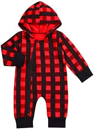 9ab06ca8618 Newborn Baby Boy Girl New Years Clothes Red Plaid Long Sleeve Romper Plaid  Zipper Jumpsuit Hooded
