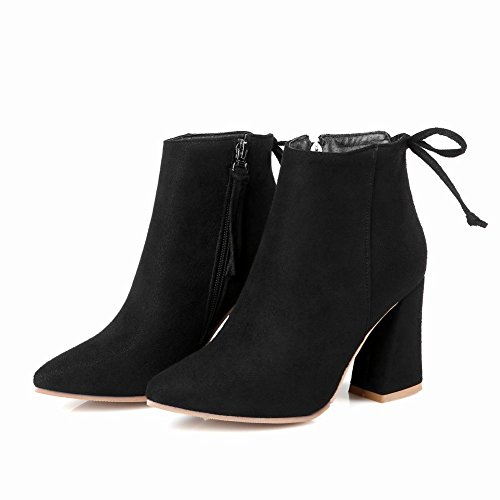 Mee Shoes Damen chunky heels Reißverschluss spitz Stiefel Schwarz