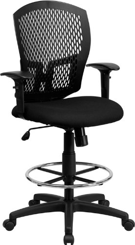 Flash Furniture Mid-Back Designer Back Drafting Chair with Fabric Seat and Adjustable Arms by Flash Furniture