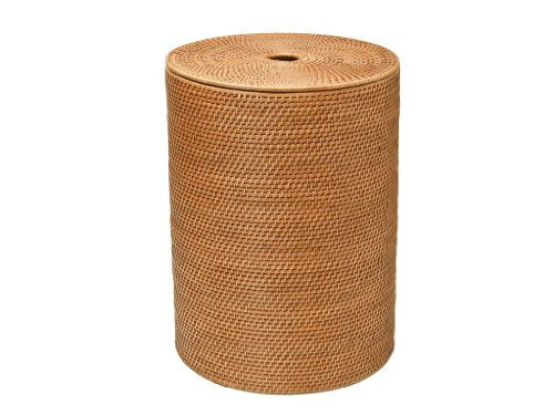 KOUBOO Round Rattan Hamper with Cotton Liner, Honey - Rattan Hamper
