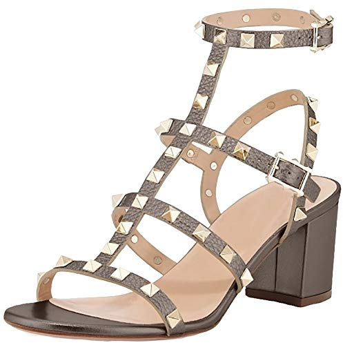 43fbd3ef3 Comfity Leather Sandals for Women,Rivets Studded Strappy Block Heels  Slingback Gladiator Shoes Cut Out Dress Sandals - Buy Online in Qatar.