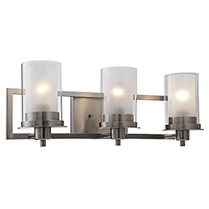 Designers Impressions Juno Satin Nickel 3 Light Wall Sconce / Bathroom Fixture with Clear and Frosted Glass: 73472