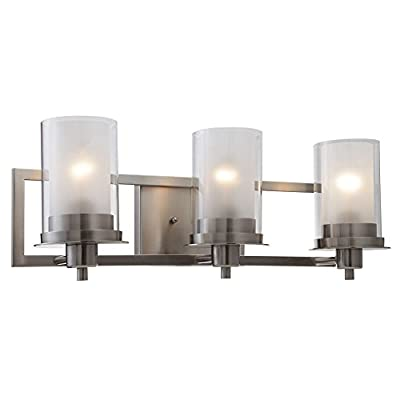"Designers Impressions Juno Satin Nickel 3 Light Wall Sconce/Bathroom Fixture with Clear and Frosted Glass: 73472 - Finish: Satin Nickel --- Glass: Clear and Frosted Height: 8-1/4"" ---- Width: 22"" Bulb Requirements (Not Included): (3) Three Medium Base 60 Watt - bathroom-lights, bathroom-fixtures-hardware, bathroom - 41Tsl3vTsPL. SS400  -"
