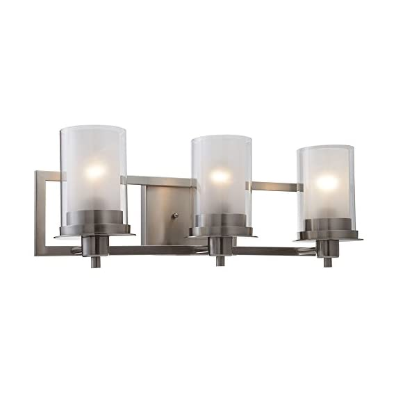 "Designers Impressions Juno Satin Nickel 3 Light Wall Sconce/Bathroom Fixture with Clear and Frosted Glass: 73472 - Finish: Satin Nickel --- Glass: Clear and Frosted Height: 8-1/4"" ---- Width: 22"" Bulb Requirements (Not Included): (3) Three Medium Base 60 Watt - bathroom-lights, bathroom-fixtures-hardware, bathroom - 41Tsl3vTsPL. SS570  -"