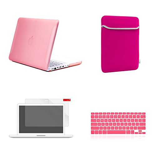 TOP CASE 4 in 1 Bundle - Rubberized Hard Case Cover + Sleeve Bag + Silicone Keyboard Cover + Screen Protector Compatible with Apple MacBook White 13 (A1342/Latest) (Case NOT Compatible with Apple1st