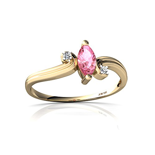 14kt Yellow Gold Lab Pink Sapphire and Diamond 6x3mm Marquise Ocean Waves Ring - Size 9