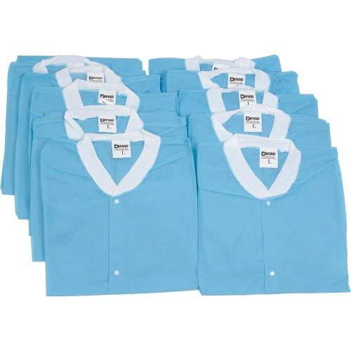 Disposable Lab Coats - S, 39''L, 10/Pack (Pack of 5)