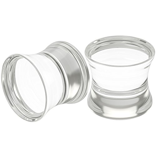 Bling Unique 2pc 00g 10mm Clear Acrylic Double Flare Ear Plugs Piercing 00 Gauge Big Cool Earrings Stretchers Kit ()