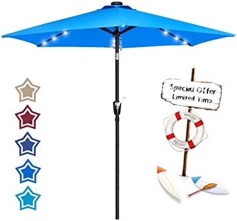 FRUITEAM Solar Patio Umbrella Outdoor LED Swimming Pool Umbrella, 7 1 2 FT Table Umbrella with Lights Heavy Duty Patio Umbrella with Sturdy Ribs, Crank, Easy Tilt Adjustment, Aqua Blue