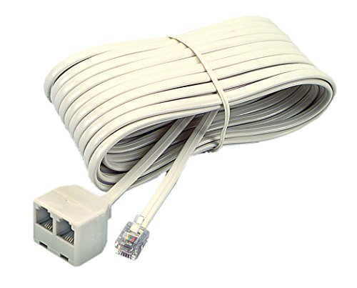 Jack Dual Cord Line - Softalk 04130 Corded Duplex Jack 25-Feet Almond Landline Telephone Accessory