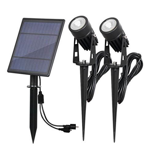 HLL Solar Powered Security Spotlight IP65 Waterproof LED Outdoor Garden Lights With 2 Lamps Landscape Lighting 6W 3000K Yellow Light