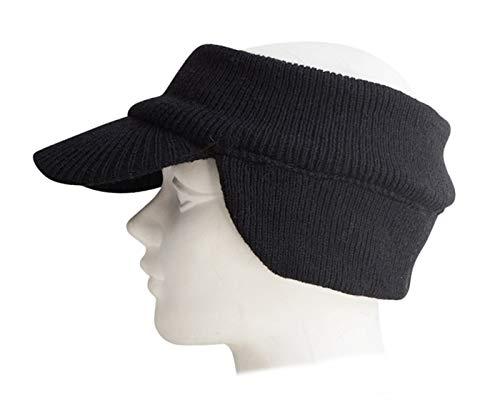 Brown Double Layer Knit Open Visor Brim Ear Flap Hat Winter Visor Headband Ponytail Beanie Winter Visor Headband Ponytail Beanie