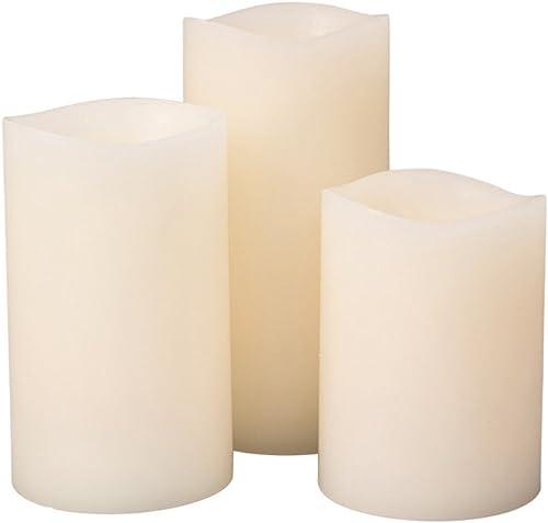 Everlasting Glow Home GlowWick LED 3 Candle Set Wax Wavy Edge Full Body Glow