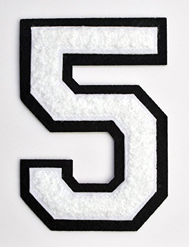 (Varsity Number Patches - White Embroidered Chenille Letterman Patch - 4 1/2 inch Iron-On Numbers (White, Number 5)