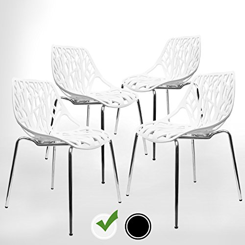 UrbanMod White Modern Dining Chair | (Set of 4) Stackable Birch Sapling Accent Armless Side Chairs