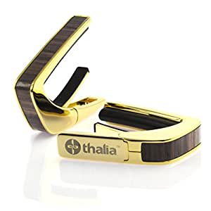 Thalia Capos 200 Series Professional Guitar Capo w/ 14 Interchangeable Fret Pads – For Acoustic, Classical, & Electric Guitars - 24k Gold Plated Finish with Indian Rosewood Inlay