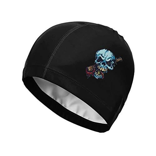 - FOECBIR Blue Skull and Baseball Bat Swim Cap Waterproof Swimming Caps for Long Hair Short Hair Women Men