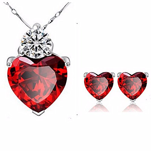 DaoRier 1 pc Cadena de la chica Collar de la señora Colgante de cristal de Wellery Corazón de diamante Red