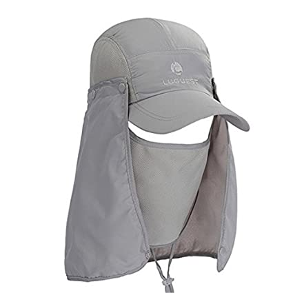 80cedeafa0e Buy WEST BIKING Sun Runner Cap UV Protection Visor BMX Outdoor Polyester  Fishing Cap Neck Face Flap Hat Quick-Drying Cycling Caps - Light Grey Online  at Low ...