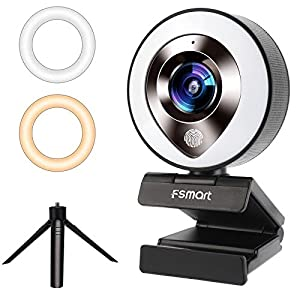 Flashandfocus.com 41TsnCBP0UL._SS300_ FSMART 1080P Streaming Webcam with Microphone for Desktop, Web Camera with Ring Light, Plug and Play Webcams,Privacy…
