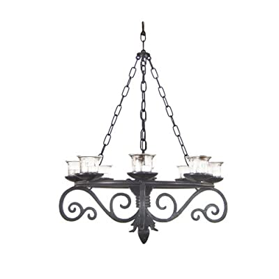 "19"" Black Metal Votive Candle Outdoor Chandelier Decorative Lantern Gazebo Decor"