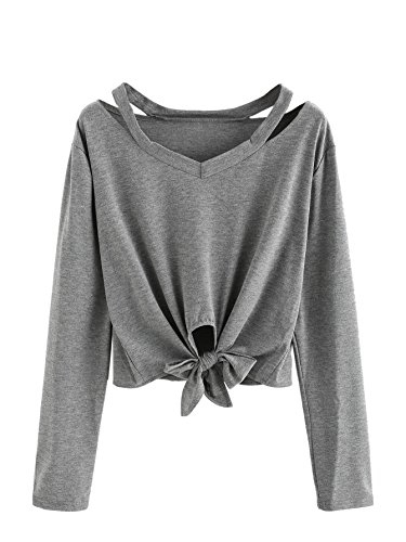 SweatyRocks Women's Crop T-Shirt Tie Front Long Sleeve Cut Out Casual Blouse Top Grey L