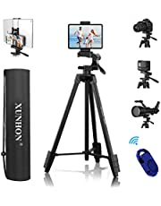 """XUNHON Phone Tripod 60 Inch+5.2"""" (IPAD+Phone Holder), Lightweight Camera/ipad/Laser Level/Cell Phone Tripod with Wireless Remote,Bag, 2-in-1 Stand, 1/4"""" Mount Screw Compatible with All Phones/Cameras"""